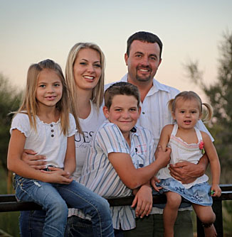 Pieter, his wife Lizelle and their children