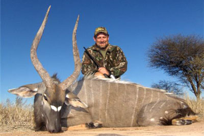 The Marshall family with Derek's Gemsbok.