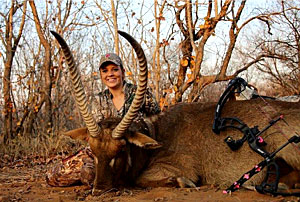 Hunting client Olivia with her Waterbuck